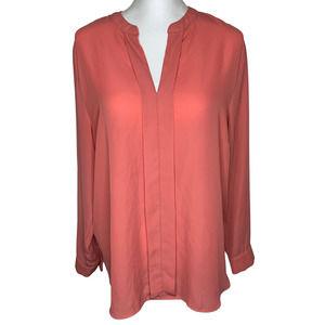 Metaphor Coral V-neck Long Sleeve Blouse XL